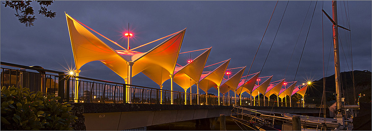 Night lighting on Canopy Bridge in Whangarei